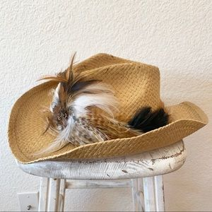 Capelli Cowboy Boho Gypsy Feather Trim Straw Hat
